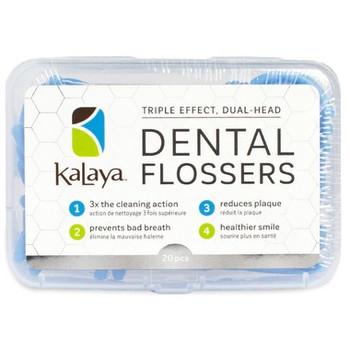 Kalaya Naturals Triple Effect Dual Head Dental Flossers | 20 Pieces
