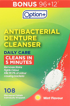 Option+ Denture Cleanser Daily Care - 3 Minutes | 108 Effervescent Tablets