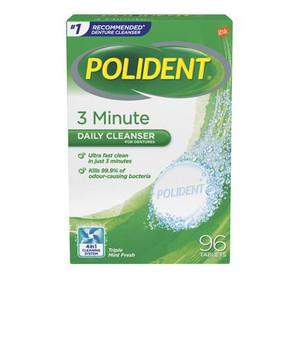 Polident 3 Minute Daily Cleanser for Dentures | 96 Tablets