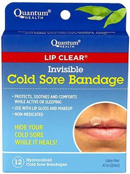Quantum Health Lip Clear Invisible Cold Sore Bandage | 12 Hydrocolloid Bandages