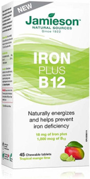 Jamieson Iron + B 12, Tropical Mango Lime | 45 Chewable Tablets
