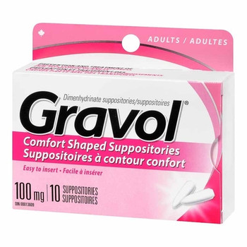 Gravol Comfort Shaped Suppositories 100 mg - Adults | 10 Suppositories