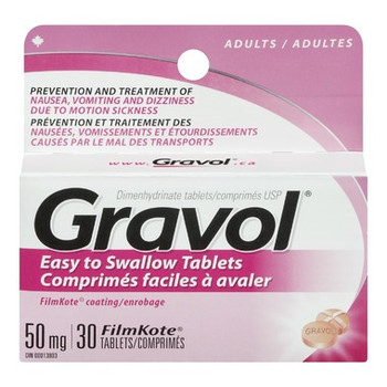Gravol Easy to Swallow Tablets 50 mg - Adults   30 FilmKote Tablets