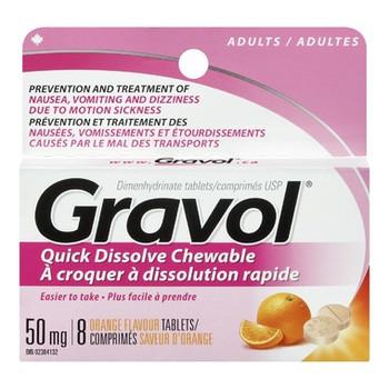 Gravol Quick Dissolve Orange Flavour Chewable Tablets 50 mg - Adults   8 Tablets