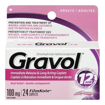 Gravol 12H Immediate Release & Long Acting Caplets 100mg - Adults   24 FilmKote Caplets