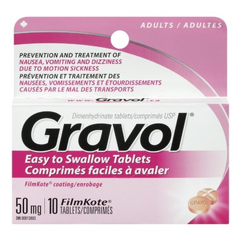Gravol Easy to Swallow Tablets 50 mg - Adults   10 FilmKote Tablets