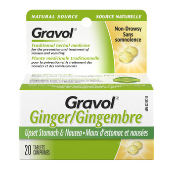 Gravol Ginger Non-Drowsy Upset Stomach & Nausea Tablets - 20 Tablets