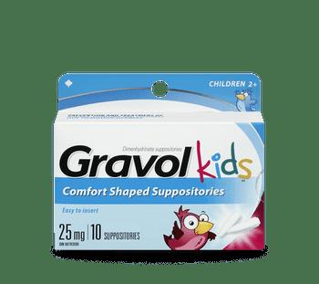 Gravol Kids Comfort Shaped Suppositories 25 mg - Children   10 Suppositories