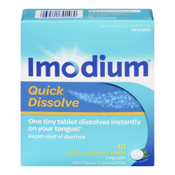 Imodium Quick Dissolve Tablets for Relief of Diarrhea 2 mg - Adults | 10 Tablets