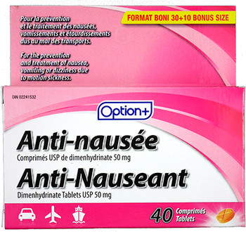 Option+ Anti-Nauseant Tablets 50 mg - Adults | 40 Tablets