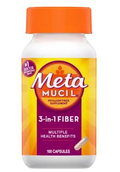 Metamucil 3 in 1 Multihealth Psyllium Fibre Capsules | 100 Capsules