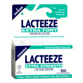 Lacteeze Extra Strength Lactase Enzyme - Mint Flavour | 100 Chewable Tablets