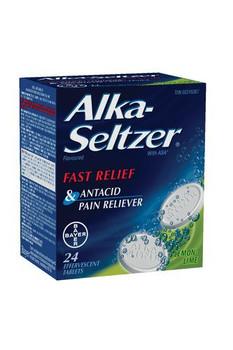 Alka-Seltzer Acetylsalicylic Acid Effervescent Tablets - Lemon   24 Tablets