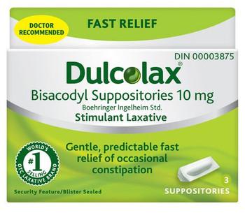 Dulcolax Bisacodyl Suppositories 10 mg | 3 Suppositories