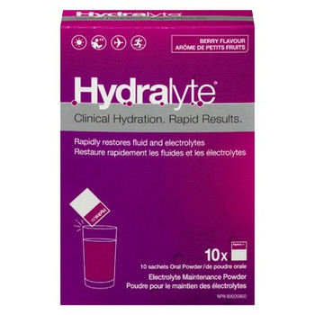 Hydralyte Clinical Hydration Electrolyte Maintenance Powder - Berry Flavour | 10 x 4.9 g