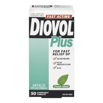 Diovol Plus Fast Acting Antacid Chewable Tablets - Fresh Mint | 50 Chewable Tablets