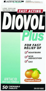 Diovol Plus Fast Acting Antacid Chewable Tablets - Tropical | 50 Tablets