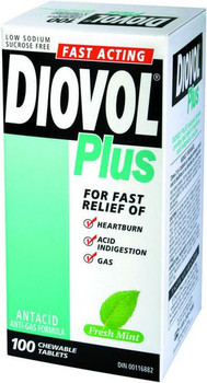 Diovol Plus Fast Acting Antacid - Mint | 100 Tablets