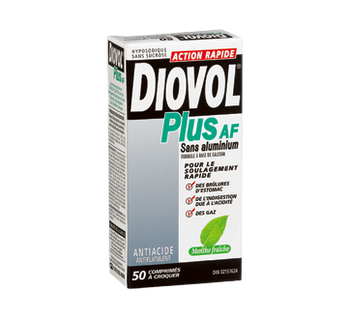 Diovol Plus AF Fast Acting Antacid - Fresh Mint | 50 Chewable Tablets