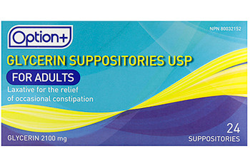 Option+ Glycerin Suppositories for Adults | 24 Suppositories