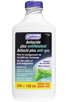 Option+ Antacid Plus Anti-Gas Liquid - Mint Flavour | 500 ml