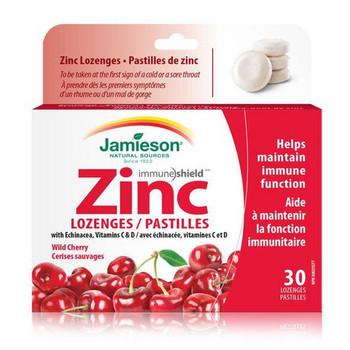 Jamieson Immune Shield Zinc Lozenges - Wild Cherry | 30 Lozenges