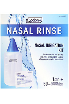 Option+ Nasal Rinse Irrigation Kit | 50 Packets + 1x240 ml Bottle
