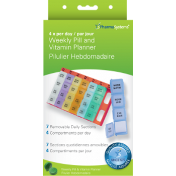 PharmaSystems 4 x per Day Weekly Vitamin Pill & Vitamin Planner