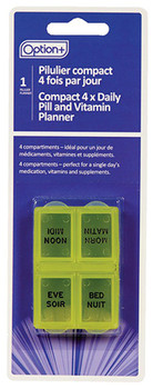 Option+ Compact 4 x Daily Pill & Vitamin Planner