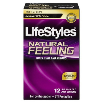 LifeStyles Natural Feeling Lubricated Latex Condoms | 12 count