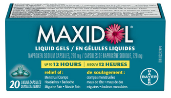 Maxidol Liquid Gels for Menstrual Cramps ans Symptoms- Up to 12 Hour | 20 Liquid Capsules