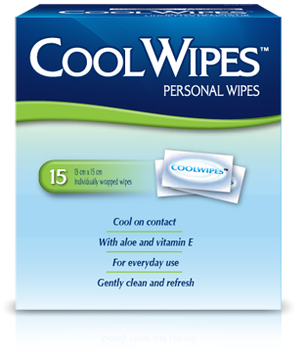 Cool Wipes Personal Wipes with Aloe & Vitamin E | 15 Wipes