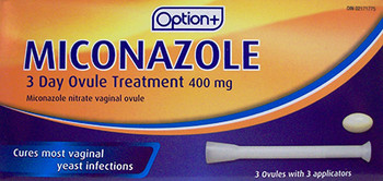 Option+ Miconazole 3 Day Ovule Treatment 400 mg