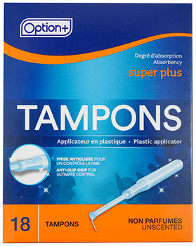 Option+ Unscented Tampons - Super Plus | 18 Tampons