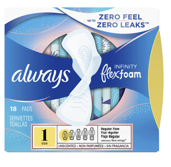 Always Infinity Flex Foam Unscented Pads - Size 1 | 18 Pads