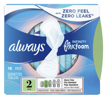 Always Infinity Flex Foam Unscented Pads - Size 2 | 16 Pads