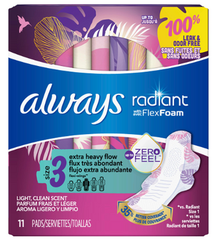 Always Radiant with Flex Foam Light Clean Scent Pads - Size 3 | 11 Pads