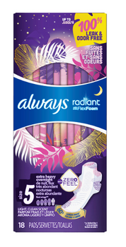 Always Radiant with Flex Foam Light Clean Scent Pads - Overnight - Size 5 | 18 Pads