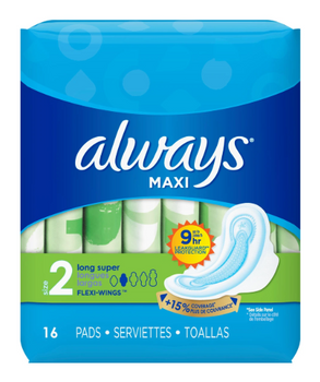 Always Maxi Pads - Long Super - Size 2 | 16 Pads
