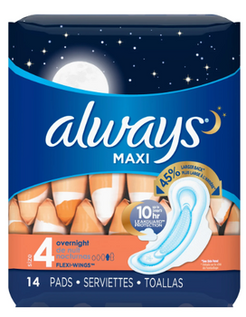 Always Maxi Pads - Overnight - Size 4 | 14 Pads