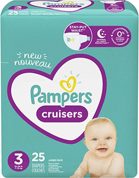 Pampers Cruisers 3-Way Fit Diapers - Size 3 | 25 Diapers