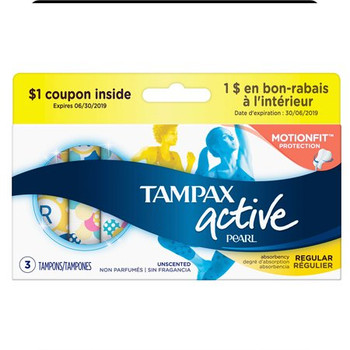Tampax Pearl active Tampons - Regular Unscented   3 Count
