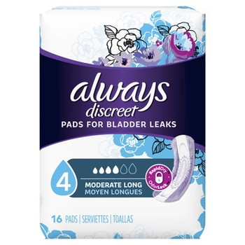 Always Discreet Incontinence Pads for Women - Moderate + Long | 16 Count