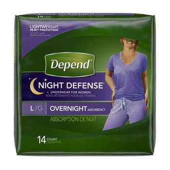 Depend Night Defense Incontinence Overnight Underwear for Women - LARGE | 14 Count