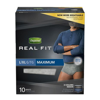 Depend Real Fit Incontinence Underwear for Men - Maximum Absorbency - LARGE/X-LARGE | 10 Briefs