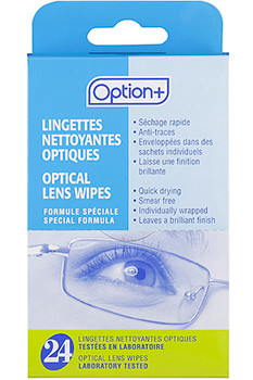 Option+ Optical Lens Wipes | 24 Wipes