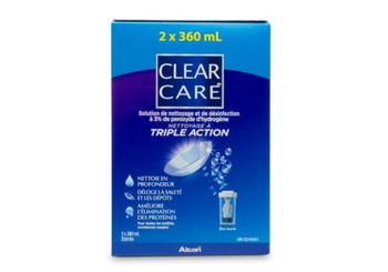 Clear Care Cleaning & Disinfecting Solution with Triple Cleaning Action for Contact Lenses | 2 x 360 ml