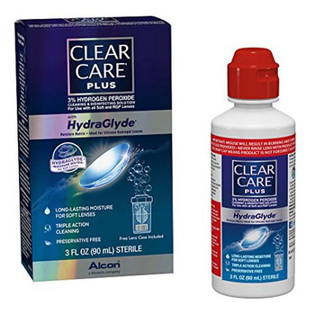Clear Eyes Cleaning & Disinfecting Solution with HydraGlyde Moisture Matrix for Contact Lenses | 90 ml