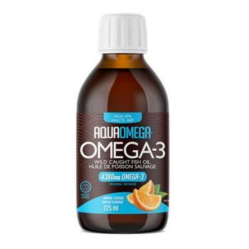AquaOmega Omega-3 Wild Caught Fish Oil High EPA - Orange Flavour | 225 ml