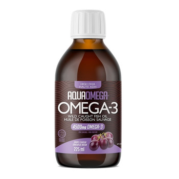 AquaOmega Omega-3 High Dha Wild Caught Fish Oil - Grape Flavour | 225 ml